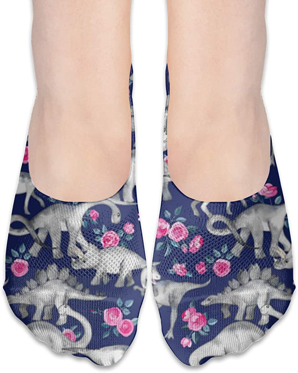 No Show Socks Women Men For Dinosaurs Roses Blue Purple Flats Cotton Ultra Low Cut Liner Socks Non Slip