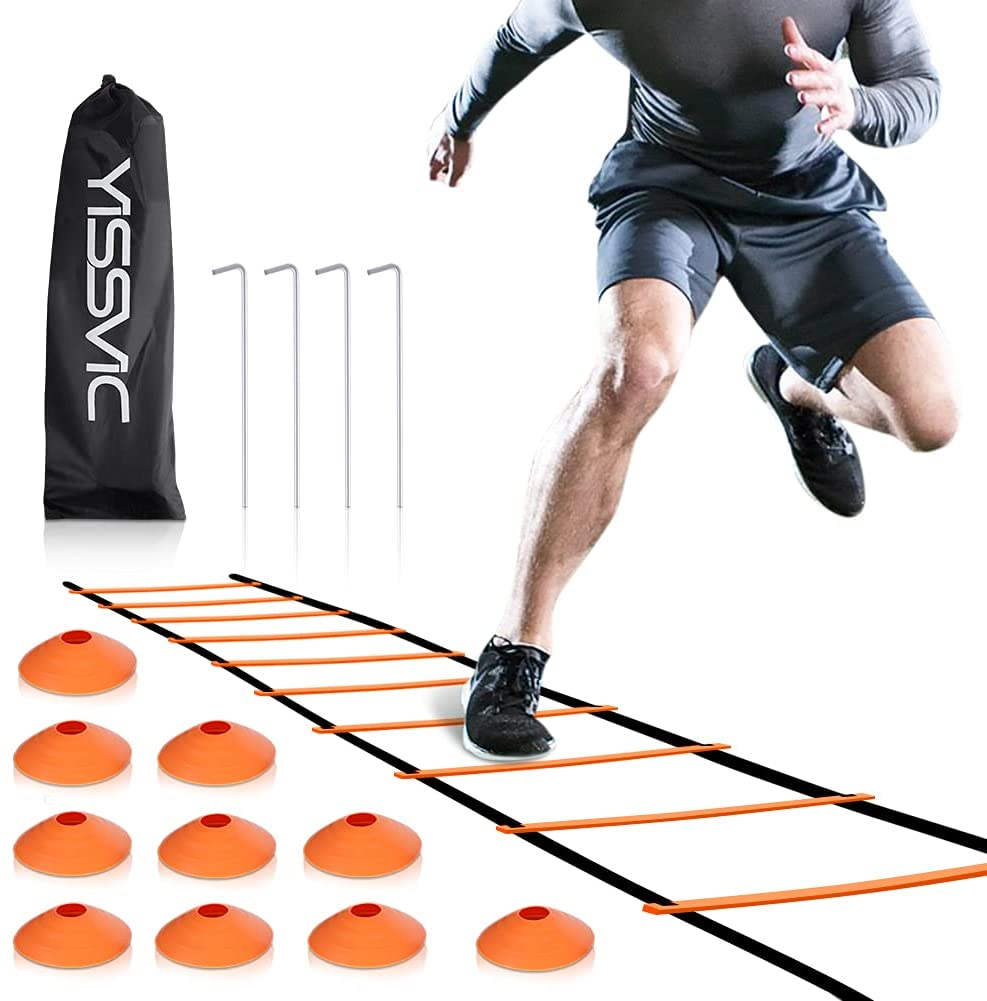 YISSVIC Agility Ladder and Tampa Mall Max 58% OFF Cones 20 12 Adjustable Rungs Fit Feet