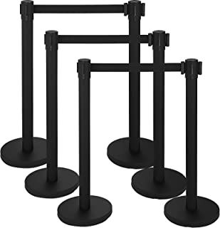 Mophorn 6 Pcs Stanchion Queue Post Black Stanchion Posts Queue Pole 36In Height Crowd Control Barriers with Retractable Belt