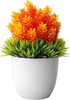 litymitzromq Artificial Flowers Outdoor Plants, Artificial Potted Plant Fake Bonsai Table Simulation for Home Desk Garden Stage Office Wedding Hotel Party Cafe Shop Decoration Orange