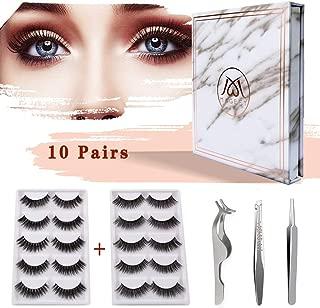 MAGEFY 10 Pairs 2 Styles Fake Eyelashes Reusable 3D Handmade False Eyelashes Set for Natural Look with False Lashes Applicator,Eyebrows Tweezer and Double Eyelid Stickers