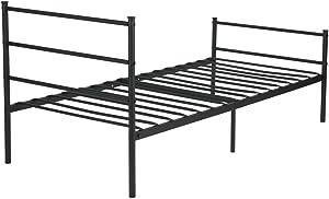 Aingoo Cama Individual de Metal con Listones sólidos para niños y Adultos Negro, 90x190cm