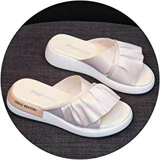 Slippers Sandals And Slippers Women Wear 2020 New White Sandals Summer Thick Bottom Non-slip Wear-resistant Ladies Fashion Go Wild Slippers (Color : Apricot, Size : 39)