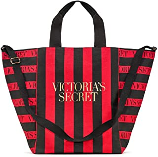 Victorias Secret New Intense Red and Black Striped Tote NWT