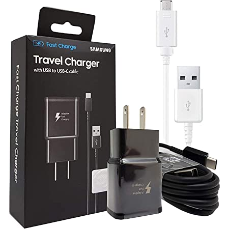 Official Samsung Adaptive Fast Charging Wall Charger -W/Micro & C TYPE USB Cable 4FT For Galaxy S6,S7,S8,S9,+,Edge,Note5,Note8,Note9 (US Retail Packing)