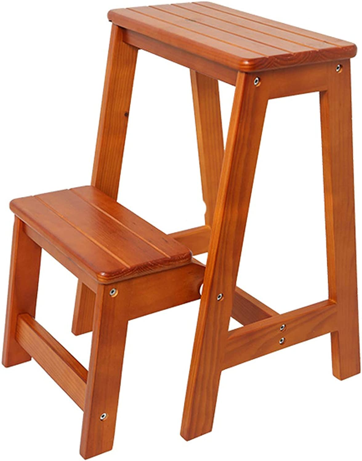 Solid Wood Step Stool, Stepladders, Home Ladder, Folding Step Ladder, Ascending Stool, Brown (Size   2 layer)