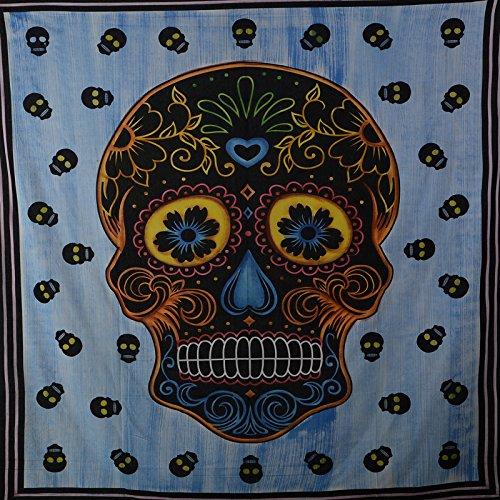 KUNST UND MAGIE Wandbehang Sugar Skull UV-Aktives Dekotuch La Catrina Totenkopf ca. 235 x 200 cm, Farbe:Blau
