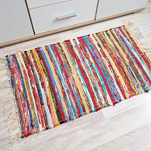 Tapiso Coton Alfombra de Entrada Cocina Dormitorio Juvenil Diseño Moderno Multicolor Franjas Lavado a Mano 50 x 90 cm
