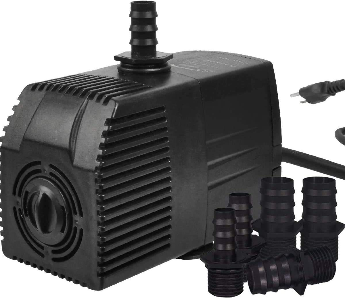 Simple Deluxe Submersible Water Pump for Fish Tank, Hydroponics, Aquaponics, Fountains, Ponds, Statuary, Aquariums & Inline, Black