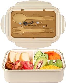 MEIXI 1400ml Boîte Bento Enfant Adulte Bento Box Lunch Box 2 Couverts SolidesHermétique Passe Au Micro-Ondes Et Au Lave Va...
