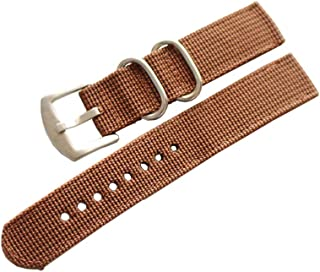 Hemobllo Watch Band Nylon Canvas Watch Strap Watch Bands for Men (Brown 18mm)