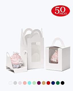 Yotruth White 50 Pack Indivdual Cupcake Boxes Cardboard Paper with Insert (Typical Series)
