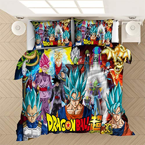 EA-SDN Dragon Ball Z Duvet Set, Goku Dragon Ball Pattern Bedding Set Single/Double Size for Kids & Teens, polyester (A07,155 x 220 cm)