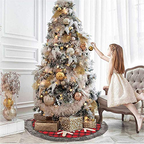 YuKeShop 78/90/122/152 cm de punto grueso rústico árbol de Navidad, manta rústica con volantes para árboles, decoración de fiesta y vacaciones para interiores y exteriores
