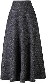 Women's High Waist Flared Woolen A-Line Winter Long Skirt with Pockets