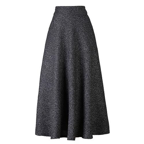 733ab21884 PERSUN Women's High Waist Flared Woolen A-Line Winter Long Skirt with  Pockets