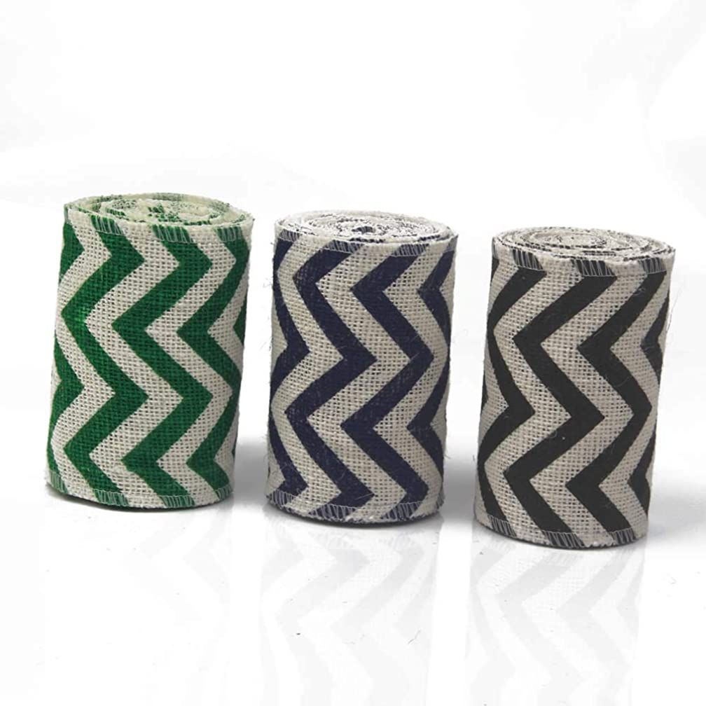 AAYU Chevron Printed Burlap Ribbon Rolls | 5 Inch X 5 Yards | 3 Pack Rolls | Natural, Eco-Friendly | Perfect for Party Wedding DIY Holiday Craft Decoration | Total 45 ft in a Pack