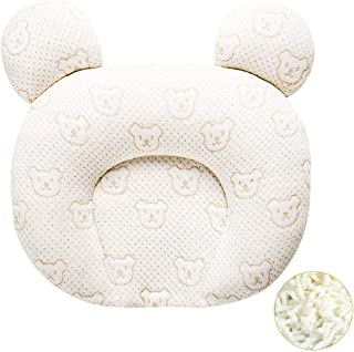 Zobidobi Newborn Baby Head Shaping Pillow,Memory Foam Unisex Infant Pillow Newborn Pillow Prevent Flat Head Syndrome for Natural Latex Toddler Pillow with Washable Organic Cotton Pillowcase