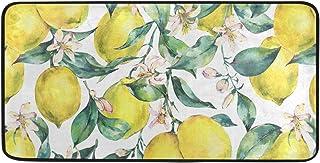 Kitchen Rug Floor Mat Washable - Branch Fresh Citrus Yellow Fruit Lemon Kitchen Mats for Floor Anti Fatigue Cushion Comfor...