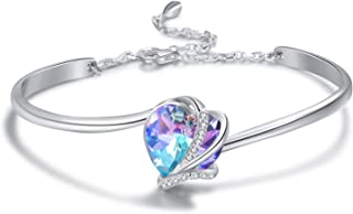 AOBOCO 925 Sterling Silver Love Heart Adjustable Bangle Bracelets-Blue Purple Crystals from Swarovski I Love You Bracelet Hypoallergenic Fine Jewelry Gift for Women Girls