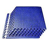 XQKXHZ Alfombrillas de Espuma para Suelo de Gimnasio, 9 Piezas Entrelazadas Rompecabezas EVA para Yoga Fitness Esterilla Protectoras Expandible para Suelos Antideslizantes, 60 x 60 x 1.2 cm,Azul