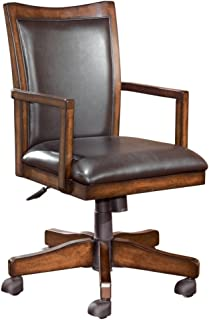 Ashley Furniture Signature Design - Hamlyn Swivel Office Desk Chair - Casters - Traditional - Medium Brown Finish - Brown Faux Leather
