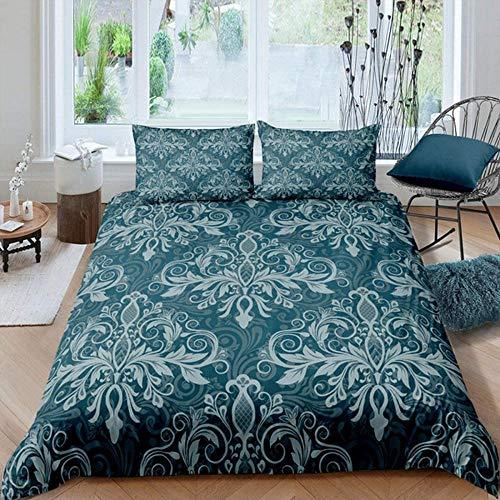 Evvaceo Juego de cama infantil de 3 piezas, funda de edredón bohemia, flores verdes de 135 cm x 200 cm, con 2 fundas de almohada 3D (individual)