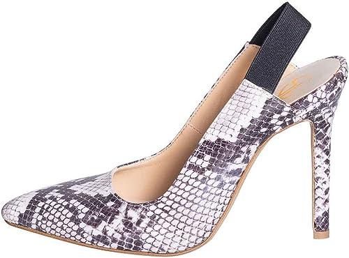 KYLA KPR-22 - zapatos de tacón Alto de pitón blancoo y negro - Talla 39 - zapatos con Goma elástica - Tacto de 10 cm - Fabricados en Italia - Estudio - Creaciones - Alta Moda Femenina