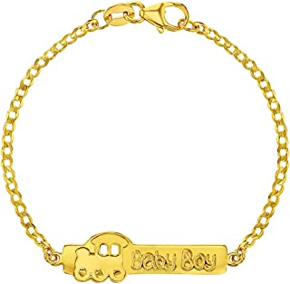 "925 Sterling Silver Baby ID Bracelet Train Baby Boy Birth Gift Newborn 5.5"""
