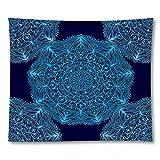 KHKJ Mandala Indio Tapiz Colgante de Pared Alfombra de Playa Bohemia Manta de poliéster YogaHome Dormitorio Arte Alfombra A12 150x130cm