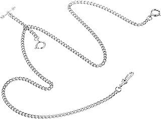 ManChDa Pocket Watch Double Albert Chain T-Bar Watch Chain Link 16 inch 3 Hook Bronze Classic Antique
