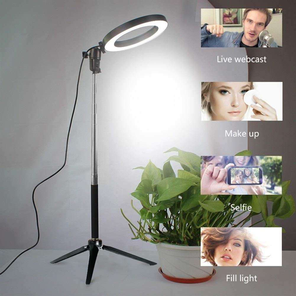 Size : C XINHUANG Video Light Dimmable LED Selfie Ring Light USB Ring lamp Photography Light with Phone Holder 2M Tripod Stand for Makeup YouTube