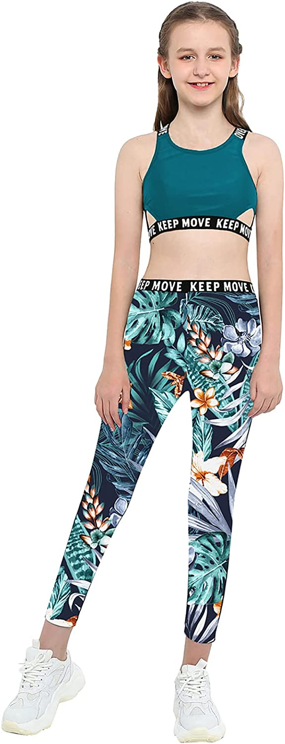 Loloda Kids Girls Printed Crop Top with Athletic Leggings 2 Piece Dance Performance Outfit Tracksuit