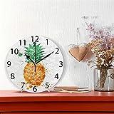 ALAZA Summer Orange Pineapple Round Acrylic Wall Clock, Silent Non Ticking Oil Painting Home Office School Decorative Clock Art