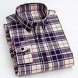 Camisas Hombre Manga Larga,Camisa A Cuadros De Algodón Camisas Casuales Camisas Clásicas A Cuadros Azul Caqui para Hombre Camisas Regulares con Botones De Bolsillo Tops Padr