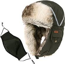 Fancet Unisex Faux Fur Winter Bomber Trapper Earflaps Ushanka Russian Hat 56-61cm