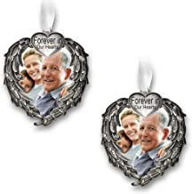 BANBERRY DESIGNS Forever in Our Hearts Christmas Ornament - Silver Heart Ornaments with Heart Shaped Angel Wings - Hanging Memorial Ornament - in Memory Christmas Ornament - 2 Pack