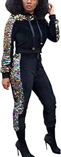 Angsuttc Women Sequin 2 Piece Outfits Pullover Hoodie and Long Pants Set Tracksuit