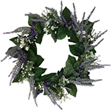 PRETYZOOM Purple Lavender Flower Wreath Artificial Floral Wreath Garland Front Door Hanging Decorations