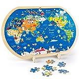 VATOS Puzzle in Legno per Bambini, Mappa del Mondo Puzzle per Bambini Puzzle educativi per Bambini di età Compresa tra 3 4 5 6+ Anni Ragazzi e Ragazze Giocattoli Montessori Puzzle in Legno