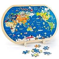 VATOS 44-teilige Holzpuzzles für Kinder, Weltkarte Puzzle für Kinder Pädagogisches Montessori Holzspielzeug ab 3 4 5 6+ Jahren Junge Mädchen