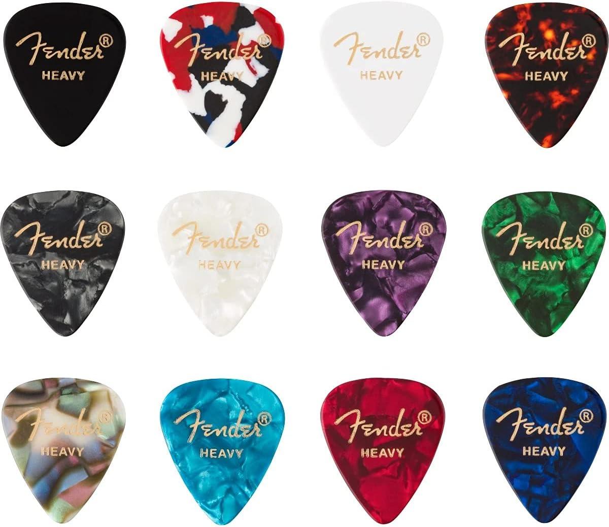 Fender© 351 0980300500 - Juego de 12 púas de celuloide (12 unidades)