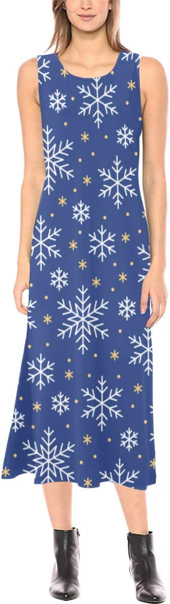 Novelty Custom Christmas It is very popular Max 53% OFF Snowflakes Blue Fork Sleeveless Open Lo