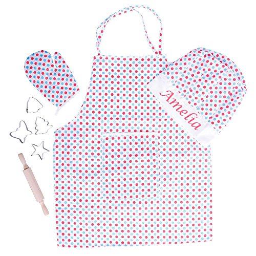 Personalised Embroidered Kids Baking Set Apron Cutters Chef Hat Spotty Gift Box