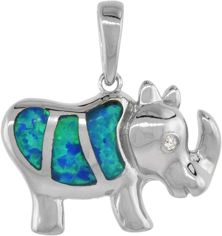 Sterling Silver Synthetic Opal Rhinosaurus Women CZ shop security for Necklace