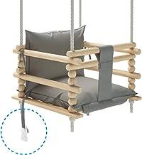 Babyschaukel Kinderschaukel Holz Indoor Schaukel BEAR grey VELVET