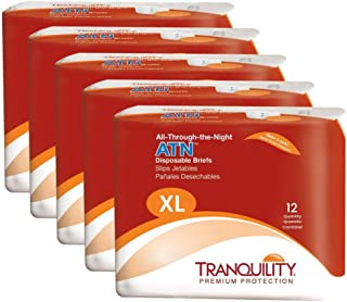 """Tranquility ATN Adult Disposable Briefs with All-Through-The-Night Protection, XL (56""""-64"""") - 60 ct (Pack of 5)"""
