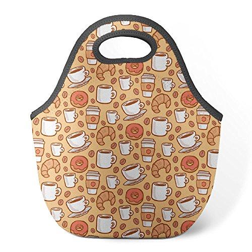 good4life–neopreno–Bolsa para el almuerzo con aislamiento bolsa para el almuerzo reutilizable [tazas de café dulces patrón]