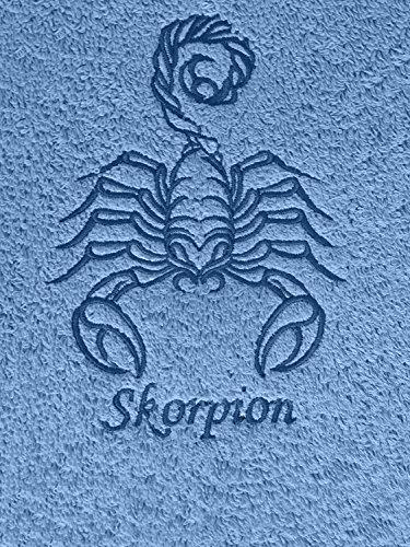 KringsFashion Duschtuch mit Sternzeichen 11 Skorpion (Geburtstag 24.10. - 22.11.), hochwertig Bestickt, 70x140cm, Farbe: Fjord/Blau, Stickfarbe Tierkreiszeichen: Blau