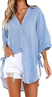 New!Women Casual Button Long Sleeve Shirt Ladies Loose Cotton Linen Casual Tops Bow-Tie